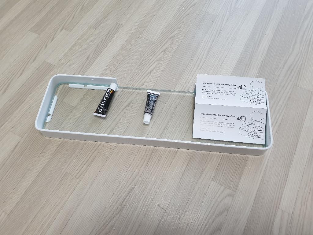 아보카도리빙 무타공 강화유리 욕실선반 일자형 접착제포함  리뷰 후기