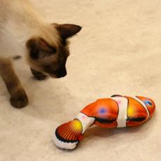 리스펫 빛나는 파닥파닥 움직이는 생선 고양이 자동장난감, 흰동가리, 1개