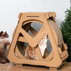 딩동펫 고양이 스크래쳐 하우스 캣휠 중형, 1개