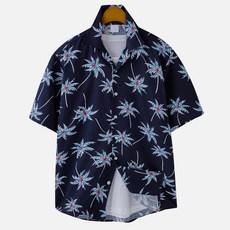 고스트리퍼블릭 남성용 팜 프린팅 오버핏 하와이안 반팔 셔츠 MSH-5S22