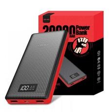 오호 20000mAh LED 듀얼 USB 충전포트 보조배터리, PW02, 블랙