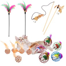벨르펫 고양이 깃털 낚싯대 + 쥐돌이 낚싯대 + 쥐공 + 깃털공 장난감 세트, 혼합색상, 1세트