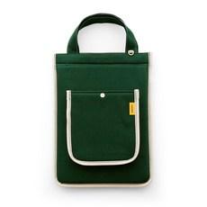 퍼니메이드 캔버스 스트랩 노트북 가방, 그린