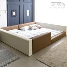 셀레스타 둥지형 벙커타입 저상형패밀리침대 Q+SS 3m 침대프레임, 카푸치노투톤