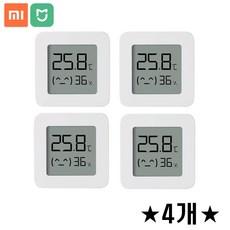 샤오미 미지아 2세대 블루투스 온습도계 LCD 스마트 온도계 습도계 추천, 4개, 화이트