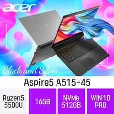 ACER 가성비 노트북 아스파이어5 A515-45 테라4 [실버만가능], 16GB, NVMe 512GB, 포함