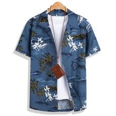 모니즈 95~130 인디블루 하와이안 반팔 셔츠 남방 SHT165