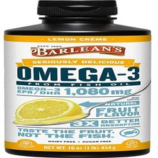 DHA 영양제Barlean?s Seriously Delicious Omega-3 Fish Oil Lemon Cr�me 16-oz