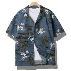 [바이훈] 남성 빅사이즈 블루그린 오픈카라 하와이안 반팔셔츠