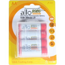 제이티원 allo 3050mAh AA 충전지 4알(케이스포함), 1세트, 4개입
