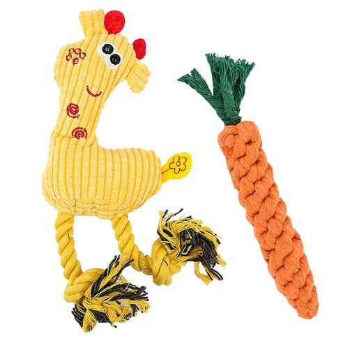 딩동펫 강아지장난감 기린 실타래인형 옐로우 + 당근실타래