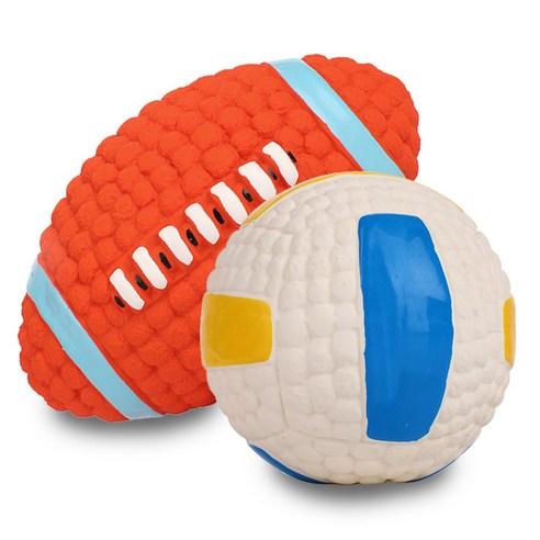딩동펫 반려동물 라텍스 스포츠볼 럭비 14cm + 배구공 9.5cm 세트